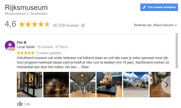 google mijn bedrijf reviews van rijksmuseum