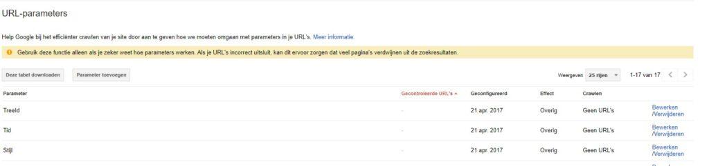 parameters uitsluiten met URL parameter tool