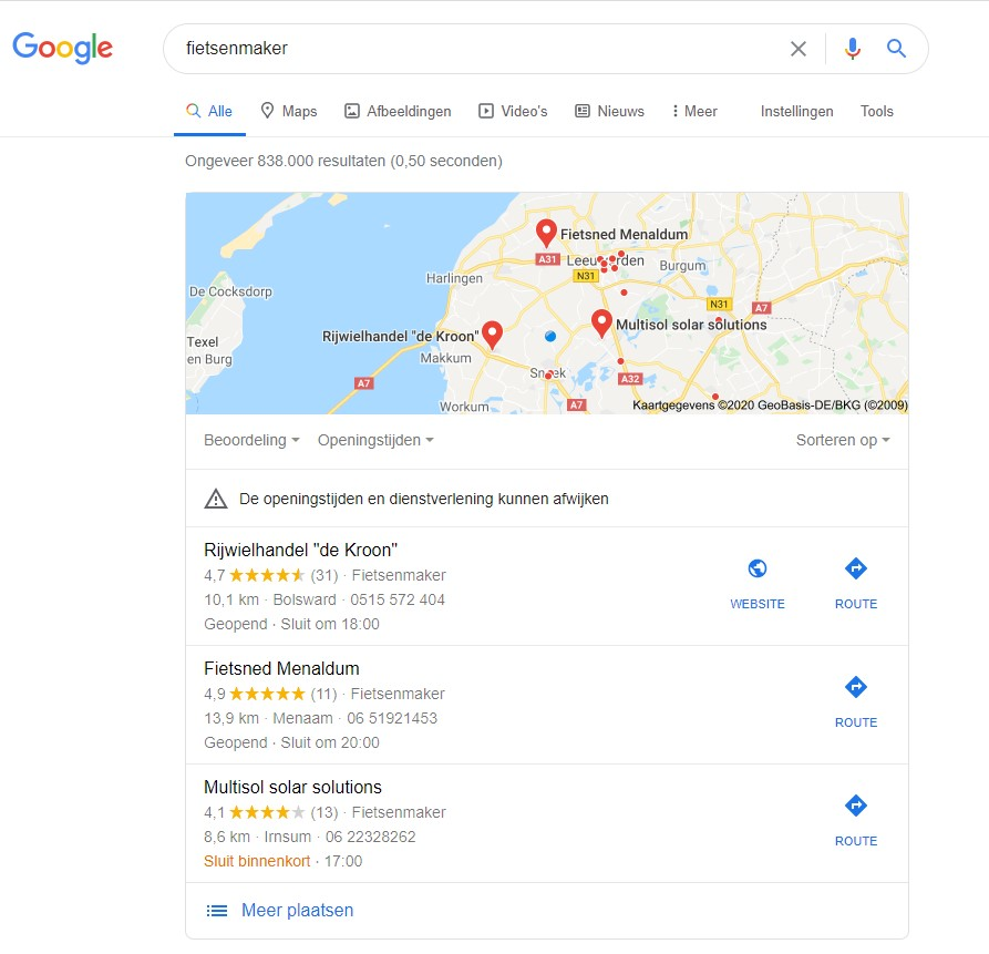 zoekopdracht Google met local pack zichtbaar